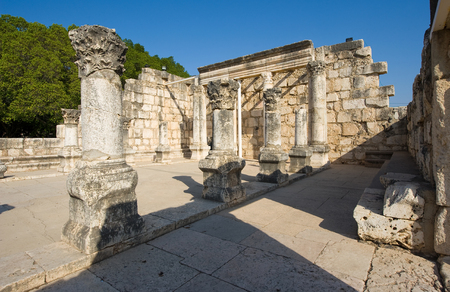 kefar: The ruins of the synagoque in the small town Capernaum on the coast of the lake of Galilee.  According to the bible this is the place where Jesus taught