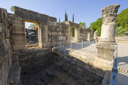 The ruins of the synagoque in the small town Capernaum on the coast of the lake of Galilee.  According to the bible this is the place where Jesus taught