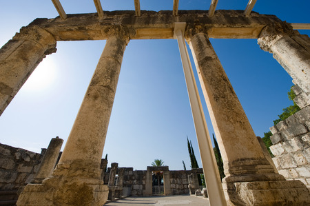 kefar: Pillars in the synagoque of Capernaum on the coast of the lake of Galilee.  According to the bible this is the place where Jesus taught