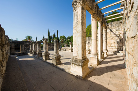 Pillars in the synagoque of Capernaum on the coast of the lake of Galilee.  According to the bible this is the place where Jesus taught