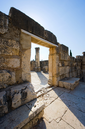 Entrance to the synagoque in the small town Capernaum on the coast of the lake of Galilee.  According to the bible this is the place where Jesus taught photo