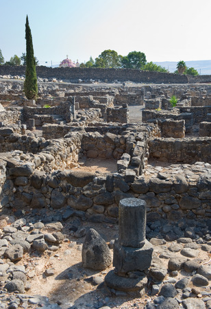 The ruins of houses in the small town Capernaum on the coast of the lake of Galilee.  According to the bible this is the place where Jesus lived and taught Stock Photo