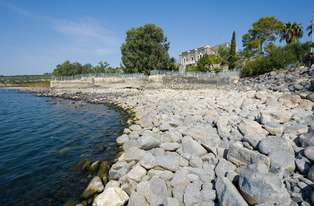 The beach of the little village Capernaum on the sea of Galilee Stock Photo