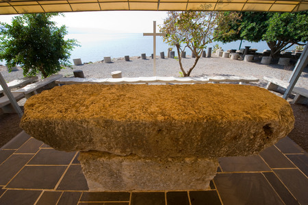 Place on the waterside of Capernaum on the sea of Galilee where people can sit and meditate or have a religious ceremony