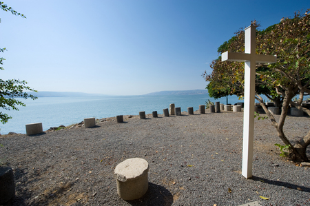 Place on the waterside of Capernaum on the sea of Galilee where people can sit and meditate