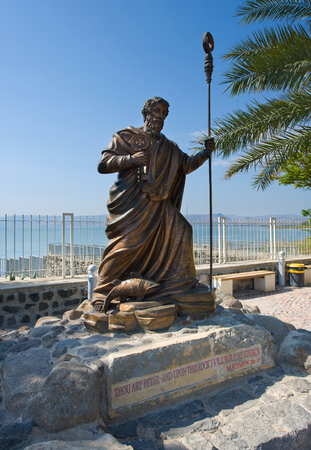 CAPERNAUM, ISRAEL - OCT 02: Statue of apostle Peter near the waterside of Capernaum on the sea of Galilee, October 02, 2014 in Israel
