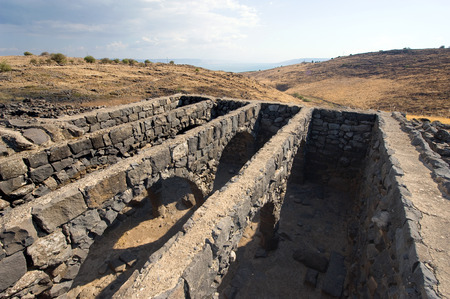 jewish town: Remains of dwelling houses in the biblical village of Korazim a few kilometer north of the lake of Galilee. Jesus condemned the city in Matthew 11:21 together with Capernaum and Beth-Saida.