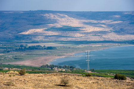 the golan heights: Northern part of the lake of Galilee as seen from the west, on the back are hills of the Golan Heights. Stock Photo