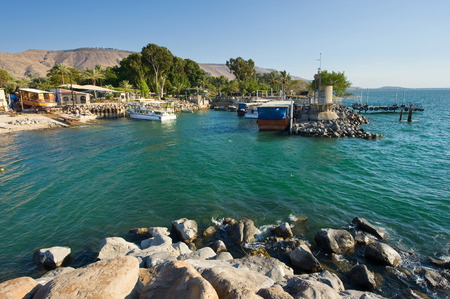 ein: The little harbour of Ein Gev on the east coast of the lake of Galilee in Israel