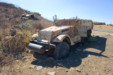 kippur: Army truck left of the yom kippur war on Stock Photo