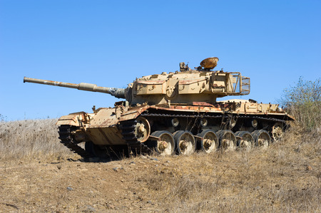 syrian war: Old centurion tank of the yom kippur war close to the syrian border on the Golan Heights in Israel Stock Photo