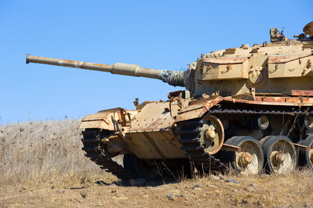 middle east war: Old centurion tank of the yom kippur war close to the syrian border on the Golan Heights in Israel Stock Photo