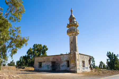 israel war: Remains of a mosque destroyed in the yom kippur war on the Golan Heights in Israel Stock Photo