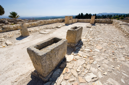 israelite: The reconstructed southern stables at Tel Megiddo National Park