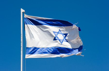knesset: The Israelian flag waving in the wind