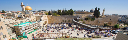 JERUSALEM, ISRAEL - OCT 06, 2014: Panorama of the Wailing wall in Jerusalem with left the dome of the rock and right the Al-Aqsa mosque