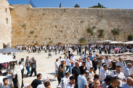 western wall: JERUSALEM, ISRAEL - OCT 06, 2014: A lot of religious jewish people in front of the western wall in the old city of Jerusalem