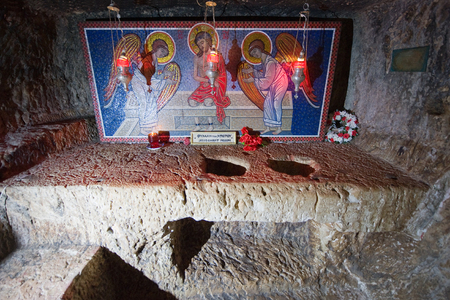 via dolorosa: JERUSALEM, ISRAEL - OCT 07, 2014: Alleged prison where Jesus Christ is said to have been held in the praetorium monastery on the Via Dolorosa in the old city in Jerusalem