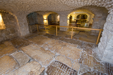 via dolorosa: JERUSALEM, ISRAEL - OCT 07, 2014: The lithostrotos pavement on the Via Dolorosa in the old city in Jerusalem is alleged to be the place where Pilate brought Jesus to stand before the people Editorial