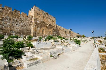 east gate: JERUSALEM, ISRAEL - OCT 09, 2014: The Golden Gate on the east-side of the Temple Mount of Jerusalem