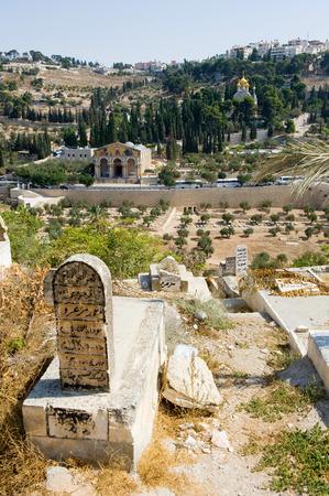 JERUSALEM, ISRAEL - OCT 09, 2014: Muslim graveyard on the east-side of the Temple Mount of Jerusalem