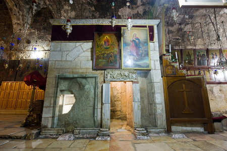 Mother Mary: JERUSALEM, ISRAEL - 09 OCT, 2014: Exit of the Tomb of the Virgin Mary, the mother of Jesus at the foot of mount of olives in Jerusalem