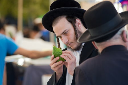kabbalah: JERUSALEM, ISRAEL - 08 OCTOBER, 2014: An orthodox jewish man is checking a citron on a market in Jerusalem just before the sukkot holiday