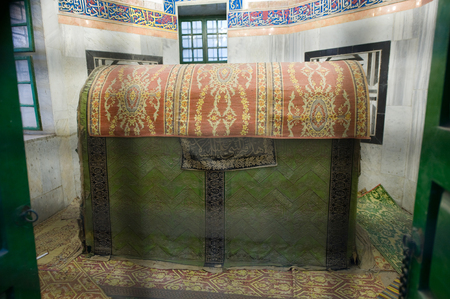 leah: HEBRON, ISRAEL, 10 OCT, 2014: The tomb of patriarch Jacob seen through bars. The tombs of the patriarchs are situated in the Cave of Machpelah in Hebron