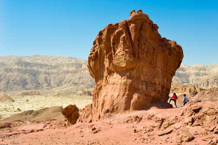 TIMNA PARK, ISRAEL - 11 OCT, 2014: The Mushroom and a Half rock formation at Timna Park in the southern negev desert in Israel