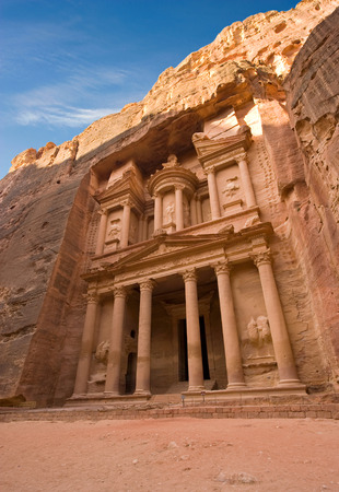 treasury: The treasury is also called Al Khazna, it is the most magnificant and famous facade in Petra Jordan, it is 40 meters high.
