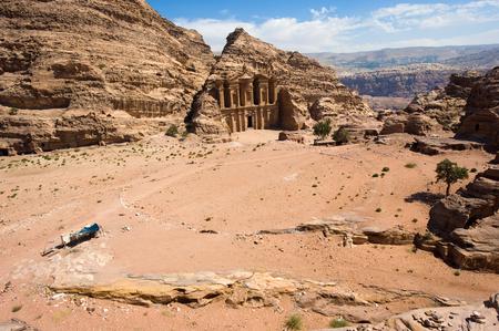 ad: The Ad Deir monastery in Petra in Jordan Stock Photo