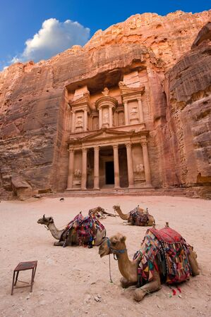 Camels in front of the treasury or Al Khazna, it is the most magnificant and famous facade in Petra Jordan, it is 40 meters high, 2014 in Jordan