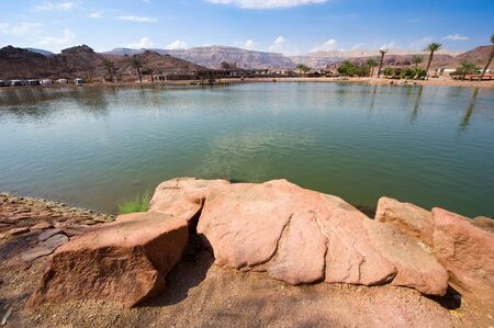timna: The Timna lake at Timna Park in the southern negev desert in Israel Stock Photo