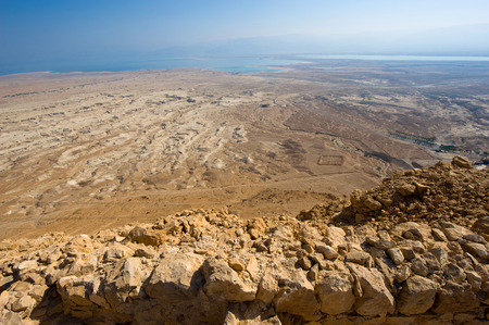 masada: View from Masada in Israel to the dead sea Stock Photo