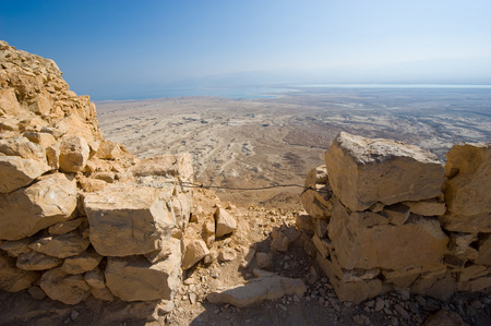 View from Masada in Israel to the dead sea photo