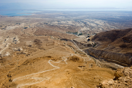 View from Masada in Israel to the dead sea, with photo