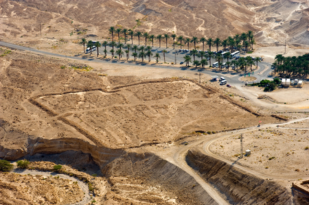 Roman Camp B. as seen from the top of Masada in Israel photo