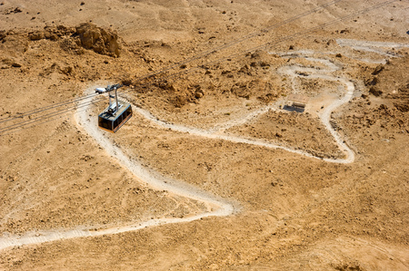 brings: Cable car that brings people to the top of Masada, down you can see