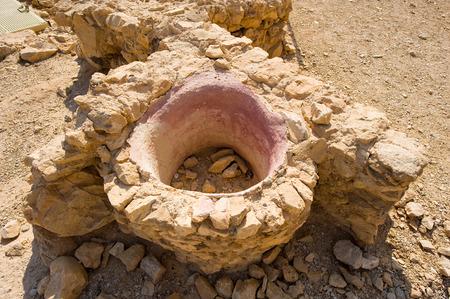 masada: Water tank in masada Stock Photo
