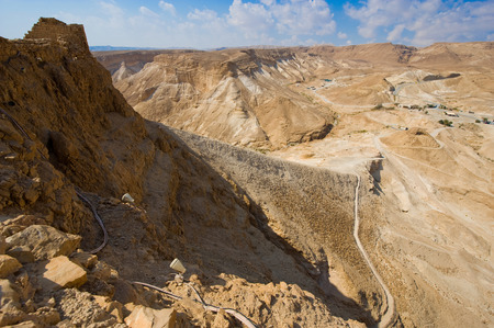 The Roman siege ramp on the west side of Masada in Israel photo