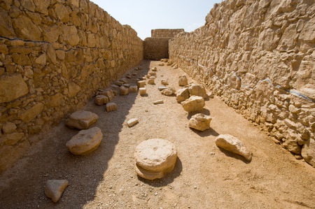 One of the storerooms on the top of the rock Masada in Israel photo