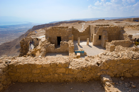 ancient israel: The Commandants residence on the top of the rock Masada in Israel