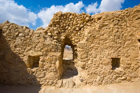 masada: Ancient wall in Masada in Israel