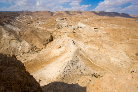 siege: The Roman siege ramp on the west side of Masada in Israel