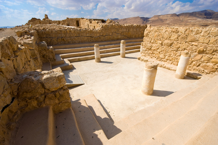 dead sea: The synagogue on top of the rock Masada in Israel