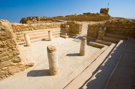 masada: The synagogue on top of the rock Masada in Israel