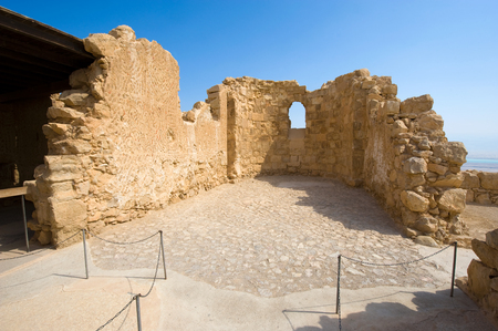 dead sea: The Byzantine church on top of the rock Masada in Israel
