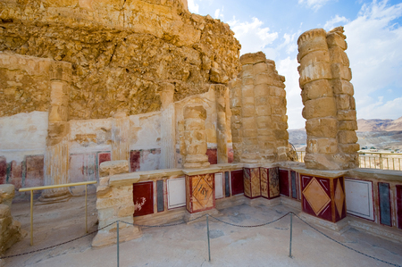 Pilasters and columns, plastered with painted frescos at the lower terrace of the palace of king Herod on the rock masada