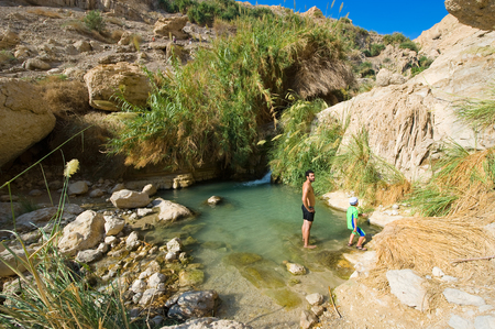 nature reserves of israel: EIN GEDI, ISRAEL - OCT 15, 2014: A man and a child are relaxing in the water of the oasis Ein Gedi close to the dead sea in Israel