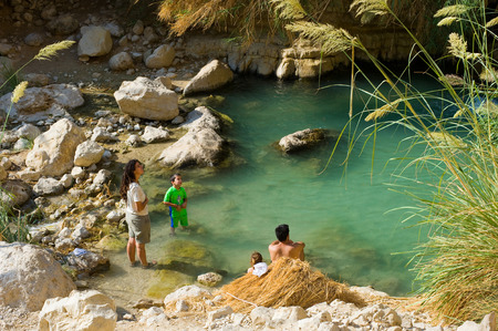 nature reserves of israel: EIN GEDI, ISRAEL - OCT 15, 2014: A family is relaxing in the water of the oasis Ein Gedi close to the dead sea in Israel Editorial